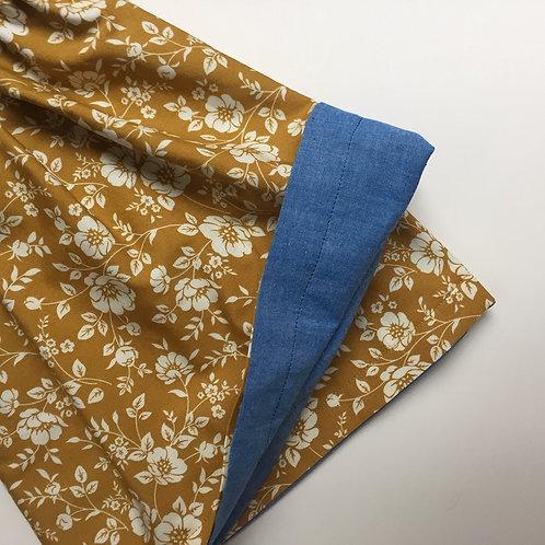Mustard Floral/ Blue Chambray Reversible Skirt