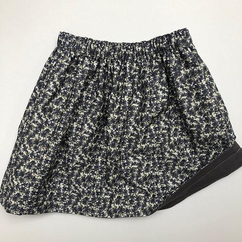 Grey Floral/ Grey Corduroy Reversible Skirt