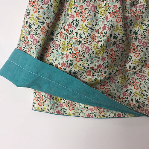 Spring Floral/ Teal Chambray Reversible Skirt