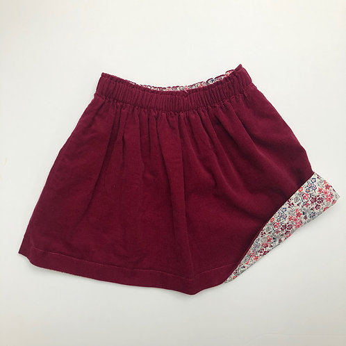Autumn Floral/ Wine Corduroy Reversible Skirt