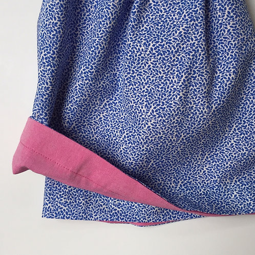 Blue Leaves/ Pink Chambray Reversible Skirt