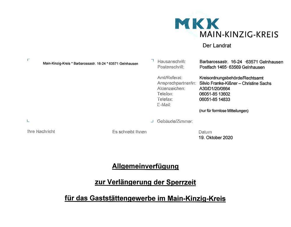 Allgemeinverfügung MKK Sperrzeiten 19.10.2020