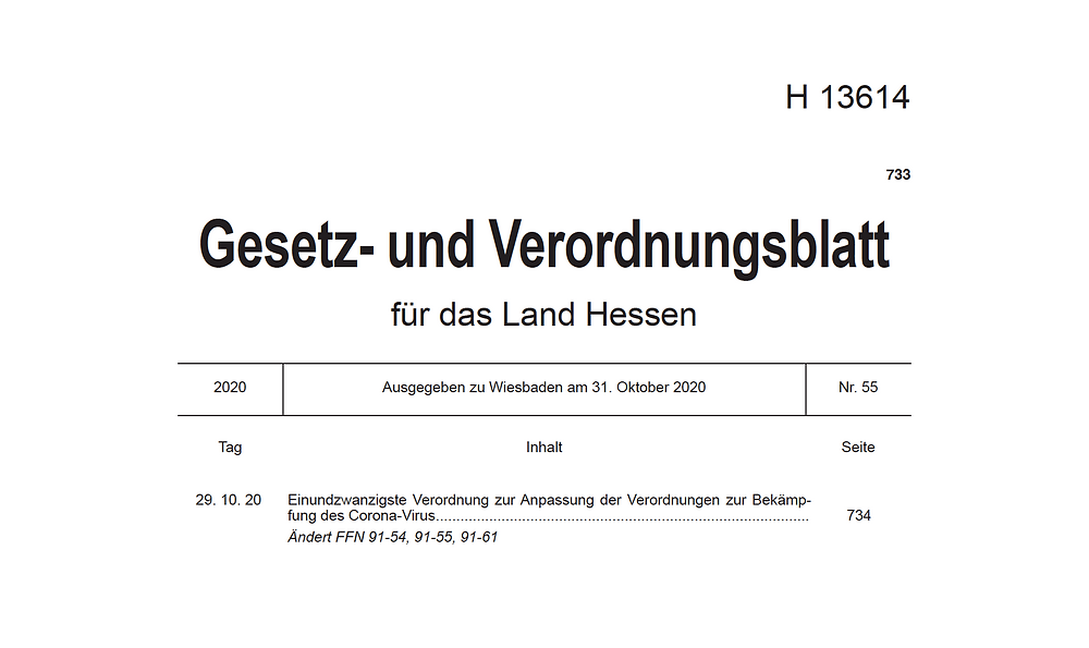 Corona-Verordnung Land Hessen 02.11.2020
