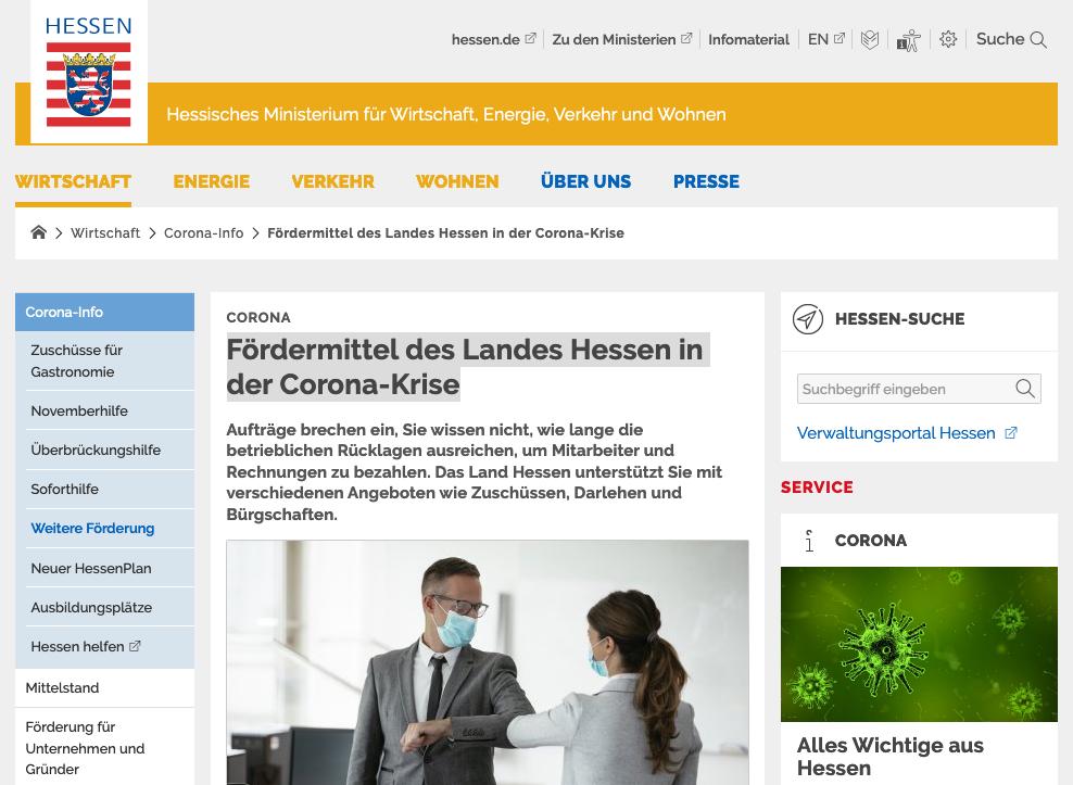 Fördermittel des Landes Hessen in der Corona-Krise