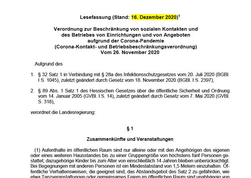 Aktuelle Lesefassung der CoKoBeV Hessen 16.12.2020