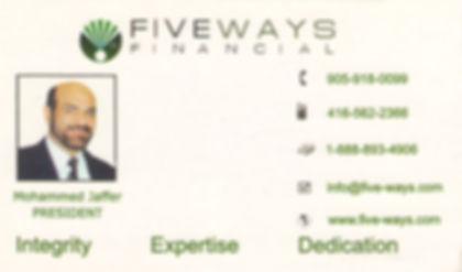 FivewaysInsurance, Fiveways Financial, Mohammed Jaffer