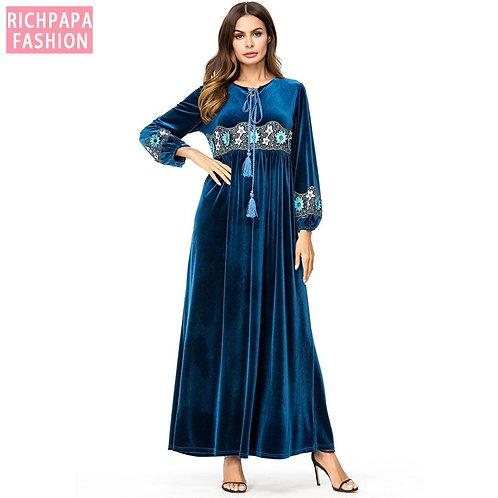 Vestidos Kaftan Abaya Dubai Arabic Velvet Embroidery Hijab Muslim Dress Women
