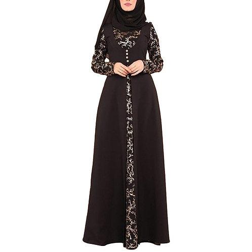 Party Elegant Floral Pattern Hot Stamping Muslim Women Long Sleeve Arab Kaftan