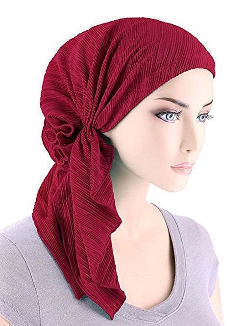 New Fashion Women Ruffle Headscarf Chemo Head Scarves Pre-Tied Headwear
