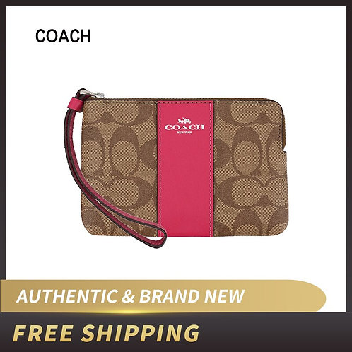 Coach Crossgrain Leather Corner Zip Wristlet Wallet F58035