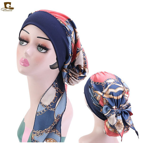 Muslim Hijab Womens Cancer Chemo Silky Flower Print Hat Turban Cap Cover