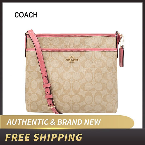 Authentic Original & Brand New Coach Signature Zip File Crossbody Bag