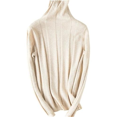 Korean Style 100%cashmere Turtleneck Knit Women Fashion Slim Short Pullover