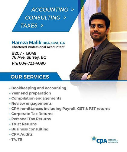 Hamza Malik, Chartered Professional Accountant