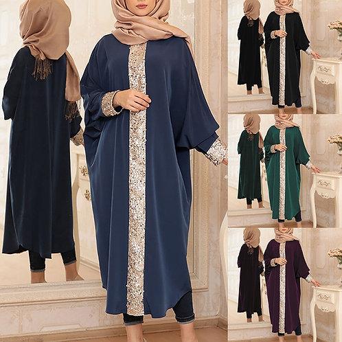 2020 Muslim Gown Sequined Loose-Fitting Dubai Abaya Kimono Turkish Kaftan