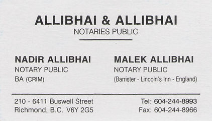 Allibhai and Allibhai, Notary Public