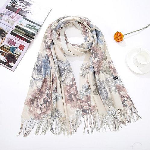 Women  Pashmina  Scarf Flower  Blanket  Luxury Scarf  Cashmere Silk