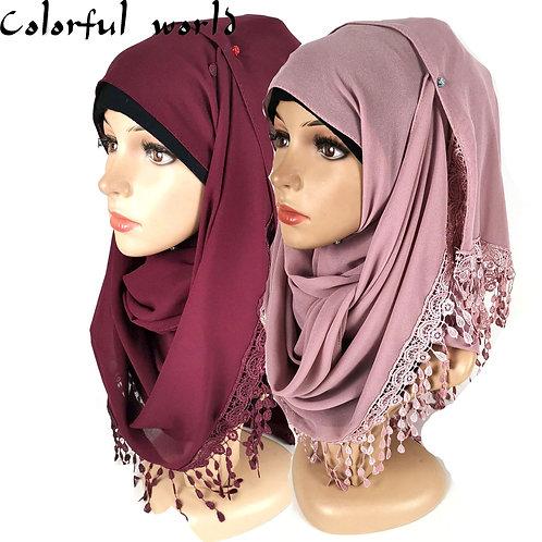 2020Hot Lace Flow Ingestion Pearl Chiffon Bag Headscarf Veil Scarf High Quality