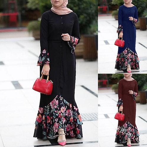 Women Floral Dress Patchwork Flower Full Sleeve Summer Loose
