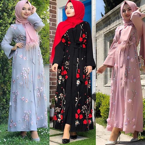 Floral Abaya Turkish Kimono Dubai Muslim Hijab Dress Abayas for Women Kaftan