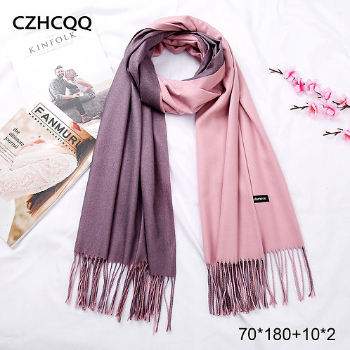 New Double Sided Winter Women Cashmere Solid Scarf Pashmina Shawls and Wraps