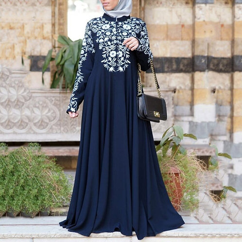 Dubai Muslim Abaya Long Dress Women Ethnic Floral Print Islam Kaftan Robe Maxi