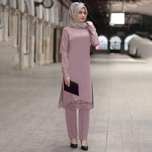 Two Piece Sets Tops and Pants Women Turkey Muslim Abaya Split Abaya Dresses