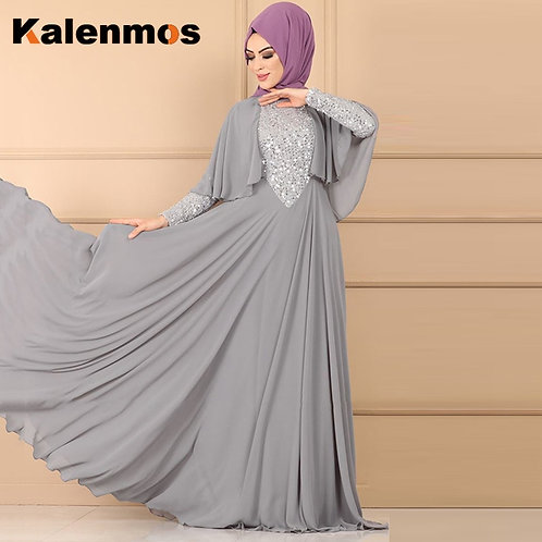 Women Chiffon Muslim Abaya Islamic Ramadan Long Sleeve Sequin Hijab