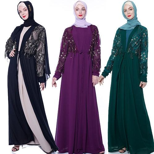 Sequin Open Abaya Kimono Turkish Dubai Hijab Muslim Dress Islam Clothing Abayas