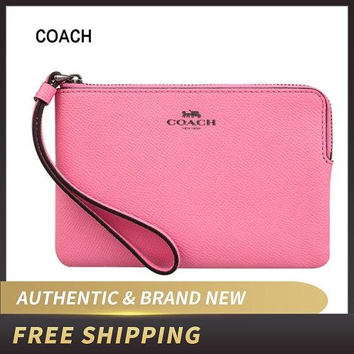 Coach Crossgrain Leather Corner Zip Small Wristlet Aquamarine F58032 Wallet