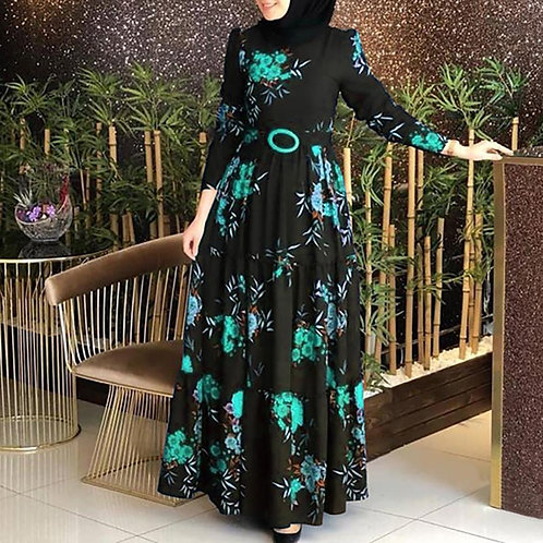 Women Retro Style Long Sleeve Muslim Abaya Dress Ethnic Floral Print Kaftan Robe