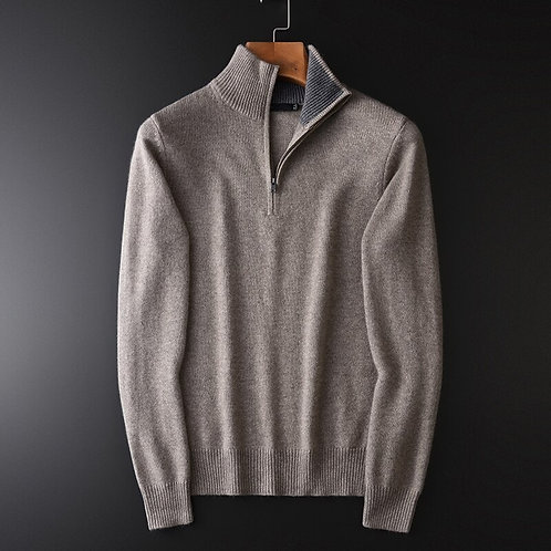 Cashmere Sweater Male Luxury Half Zipper Collar Solid Color Mens Slim Fit