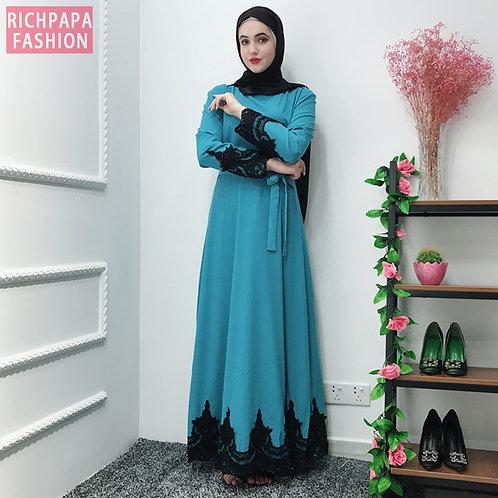 Lace Abaya Robe Dubai Hijab Muslim Dress Kaftans Abayas for Women Caftan