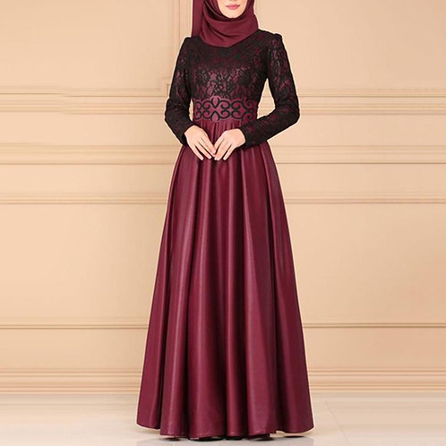 Hot Autumn Vintage Muslim Women Lace Patchwork Long Sleeve Dress Without Hijab