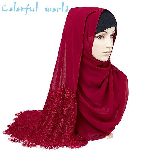 2020Malaysia New Pearl Chiffon Lace Lady Hijabs Quality Women Plain Scarf