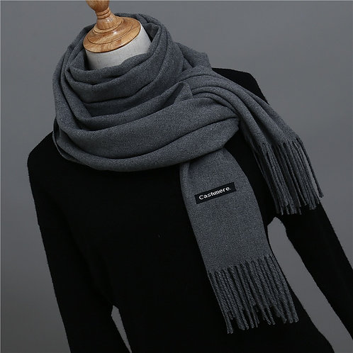 2019 Hot Sale Men Cashmere Scarf Unisex Thick Warm Winter Scarves Black and Gray