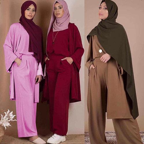 Three-Piece Abaya Turkish Kimono Tops Pants Muslim Dress Abayas Hijab Robe Dubai