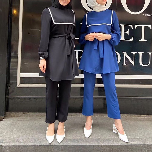 Abaya Turkey Two Piece Muslim Sets Hijab Dress Islamic Clothing Abayas for Women