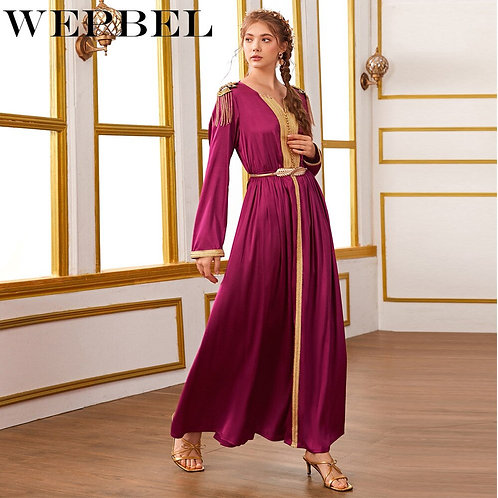 Muslim Casual Beading Tassel Robe Long Sleeve Dress Epaulet Patchwork Woven