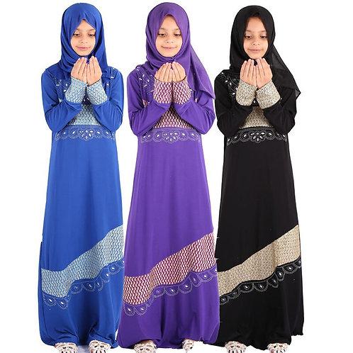 Ramadan Eid Mubarak Girls Kids Abaya Turkey Muslim Dress Children Kaftan Dubai
