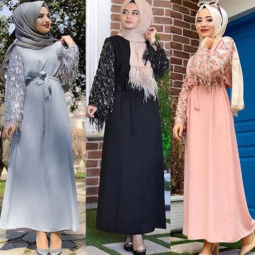 Sequin Tassel Abaya Turkish Dubai Hijab Muslim Dress Islam Clothing Abayas