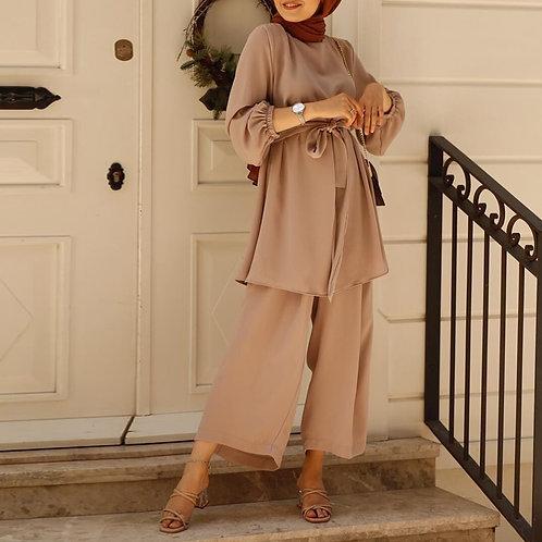 Two-Piece Muslim Sets Abaya Turkey Hijab Dress Caftan Kaftan Islamic Clothing