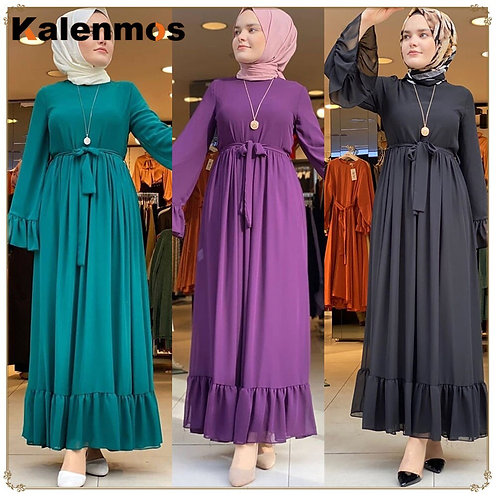 Abaya Hijab Muslim Dress Women Ruffles Pleated Party Vestidos Kaftan Islam