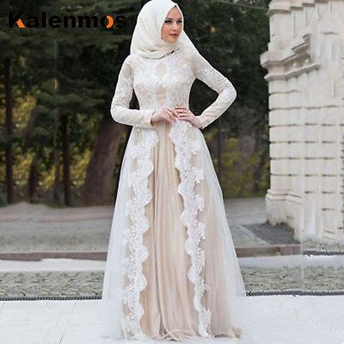 Muslim Abaya Dress Women Islamic Clothing Lace Vintage Kaftan Long