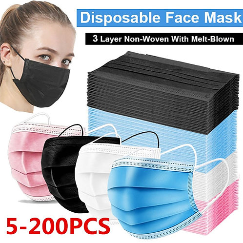 5-200pcs Mask Disposable Nonwove 3 Layer Filter Mask Mouth Face Mask Filter Safe