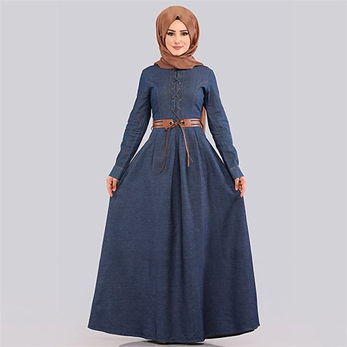 Muslim Denim Dresses Women Big Swing A-Line Maxi Dress Long Sleeve Hijab