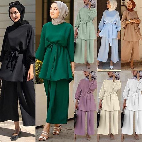 Two-Piece Muslim Set Abaya Turkey Hijab Dress Kaftans Islam Clothing 2 Piece Set