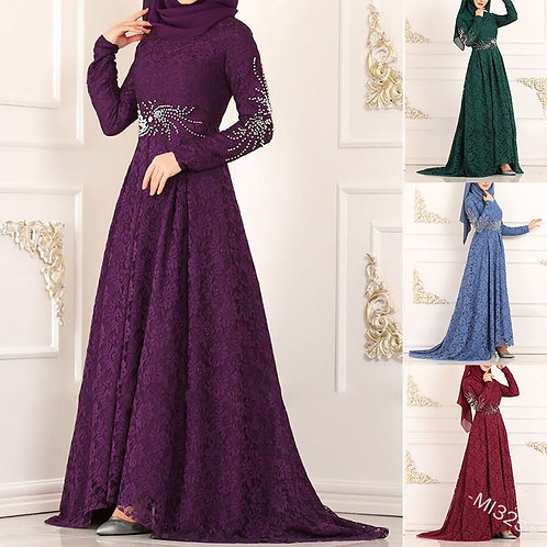 Muslim Women Lace Dress Plus Size Arab Abaya High Waist Big Swing Robe Casual