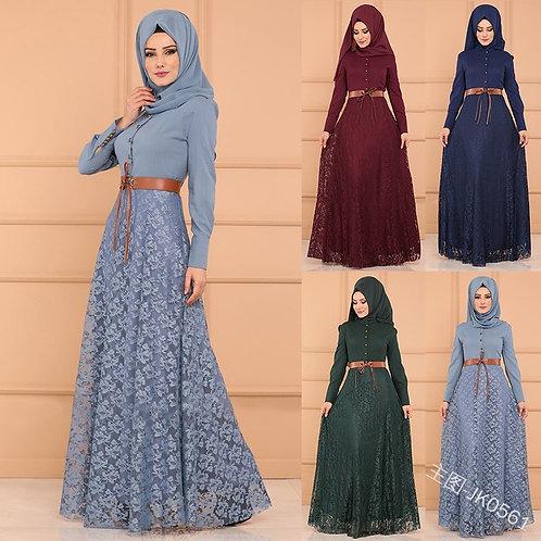 Lace Women Abaya Arab Long Sleeve High Waist Muslim Party Dress Stitching