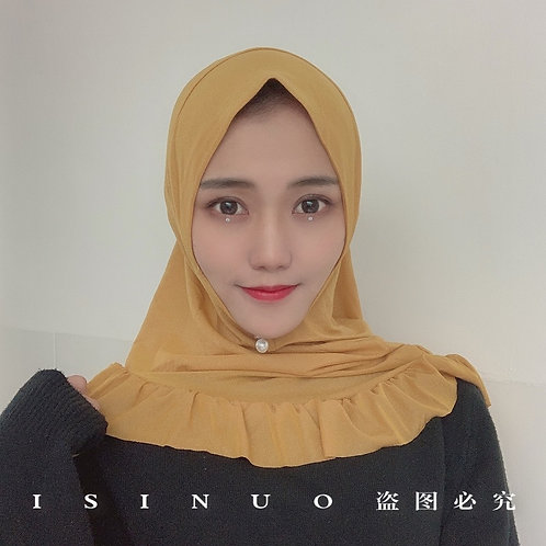 Fashion Muslim One Piece Amira Instant Hijab With Lotus Ruffled Ready to Wear